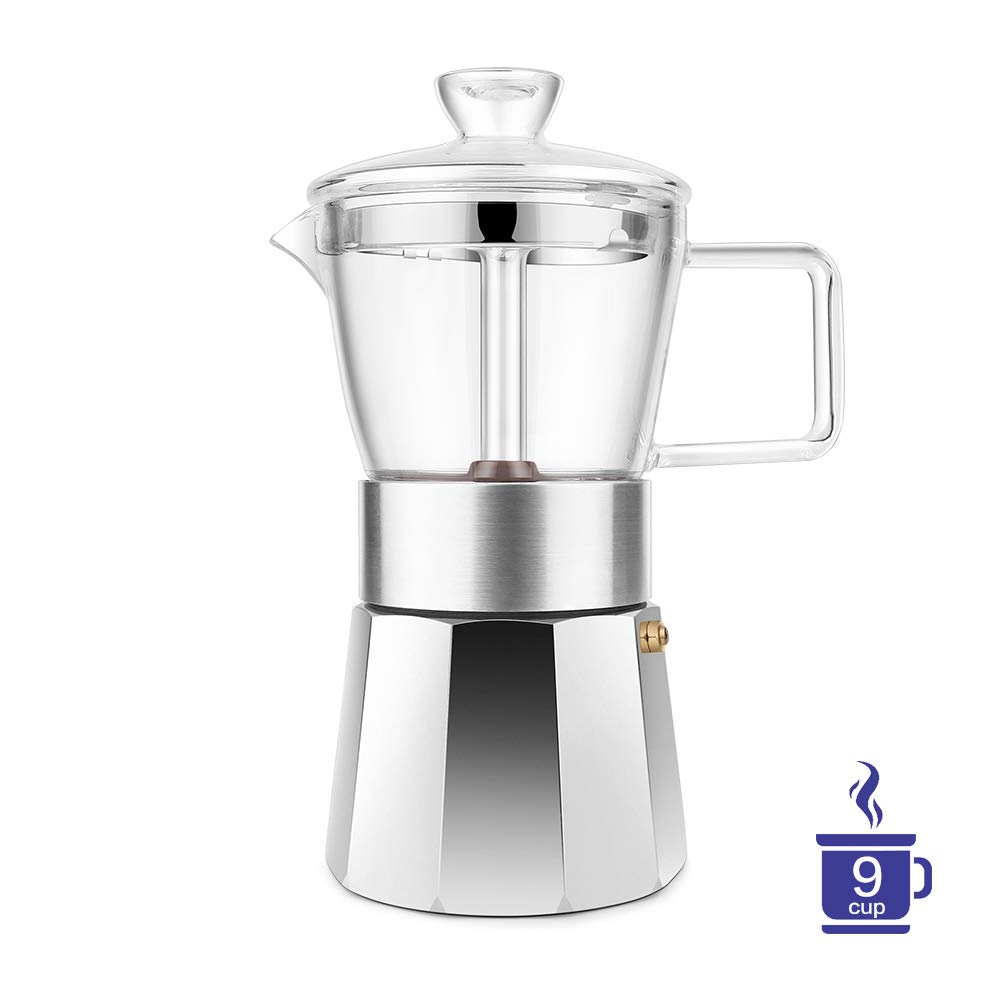 GEESTA Premium Crystal Glass-Top Stovetop Espresso Moka Pot - 9 cup - Coffee Maker