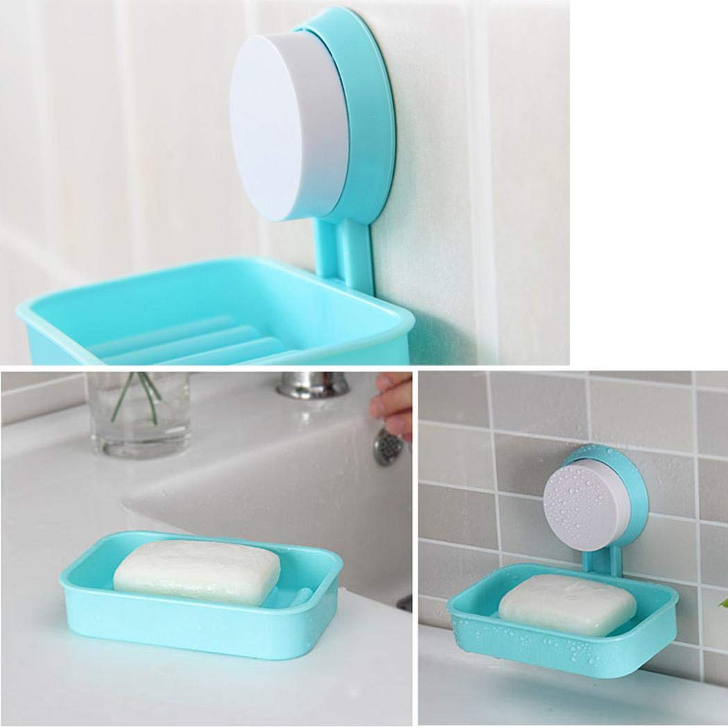 Qenci Vacuum Sucker Soap Dish Soap Box Soap Holder Suction Cup Plastic Drained Soap Dish for Shower 1 PCS