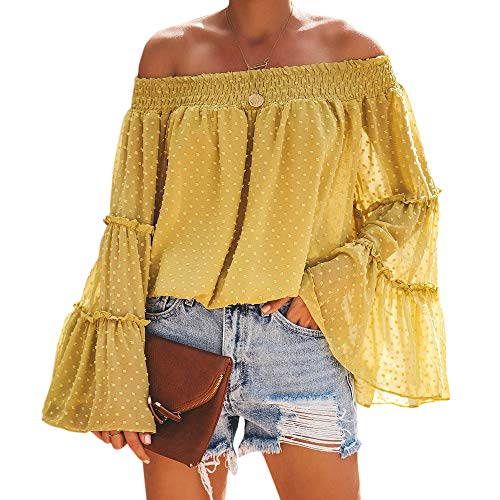 MOOSLOVER Women Sexy Off The Shoulder Tops Chiffon Long Bell Sleeve Casual Loose Blouse Shirts(M,Yellow)