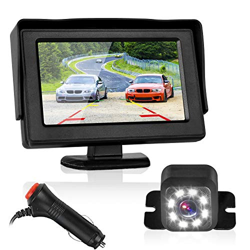 Car Backup Camera with 4.3″ LCD Monitor Kit Car Rear View System Single Power Easy Installation with Guide Lines Night Vision Waterproof Reverse Camera from ZSMJ fit for All Cars