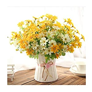 One Set Small Daisy Artificial Flower Silk Sunflower with Rattan Vase Decoration for Home Room Table 13 Type 52