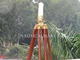 40-inch Clear Coated Solid Brass Harbormaster Telescope on a Mahogany Tripod with Standard Mount