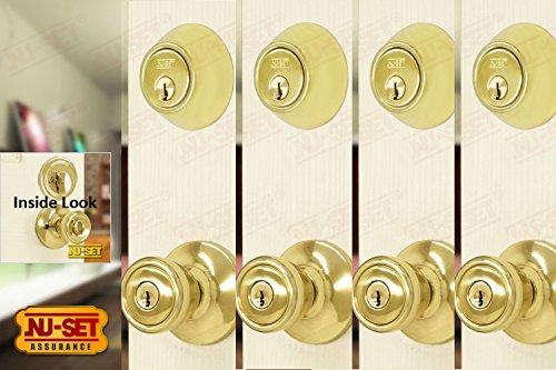 NuSet Contractor Combo Lockset, 4 Sets of Keyed Entry Door Lock with Single Cylinder Deadbolt, Same Key, Polish Brass