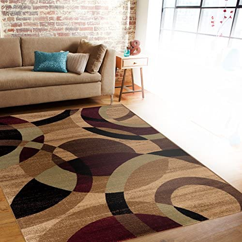 Contemporary Modern Circles Multi Area Rug Abstract 9' X 12'