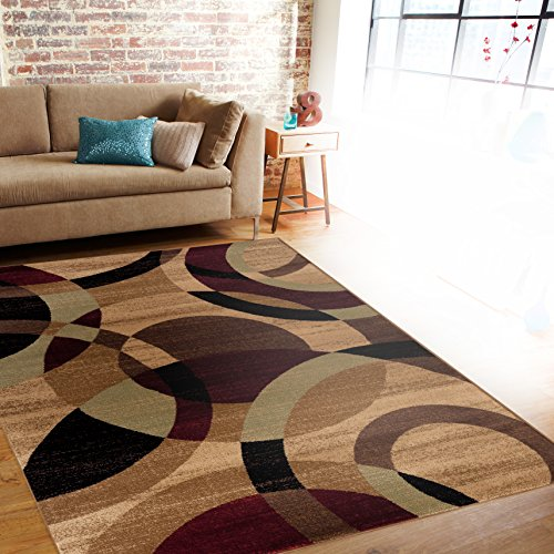 Rugshop Contemporary Modern Circles Abstract Area Rug, 9' x 12', Multicolor