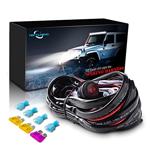 MICTUNING MIC-B1002 LED Light Bar Wiring Harness, Fuse 40A Relay On-off Waterproof Switch Auto Wiring Harnesses