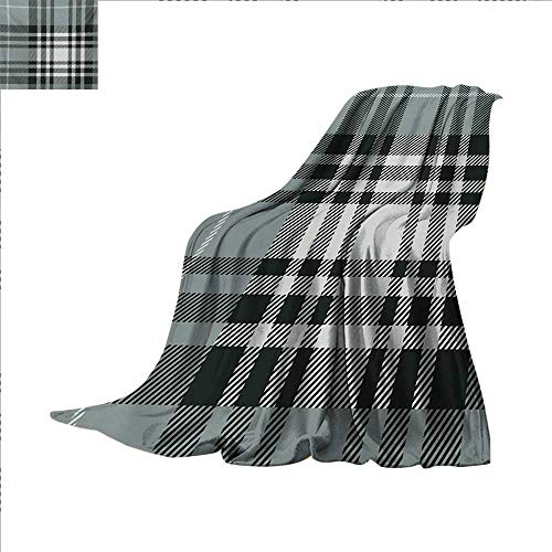 Checkered Lightweight Blanket Old Fashioned Plaid Tartan in Dark Colors Classic English Tile Symmetrical Digital Printing Blanket 60 x 50 inch Grey Black White