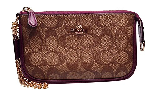 Coach Large Wristlet Khaki Plum Signature PVC Leather
