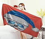 Anniutwo Yorkie,Bath Towel,Terrier with a Blue Santa Hat and Mirror Aviator Glasses Fun Hand Drawn Animal,Customized Bath Towels,Coral White Blue Size: W 19.5'' x L 39.5''