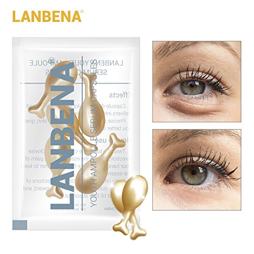 Yiwa 5 Grain/ Bag 24K Gold Peptide Wrinkles Eye Ampoule Capsule Eye Serum Anti-Aging Fine Lines Dark Circle Eye Patches Eye Cream