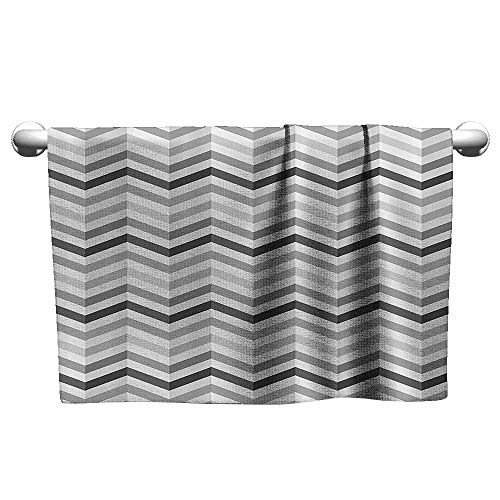 Mannwarehouse Geometric Decor Collection Beach Towel Fashion Zigzag Old Cloth Design Pattern with Folding Effect Repeat Minimalist Artwork W12 x L35 Platinum Grey