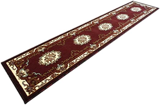 Traditional Runner Rug Design Kingdom 121 Burgundy 2 Feet 4 Inch X 11 Feet