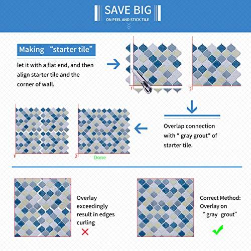 Peel and Stick Tile Backsplash for Kitchen Bathroom,Teal Arabesque Tile Backsplash,Mosaic Backsplash Sticker (8 Tiles) by HUE DECORATION (Image #5)