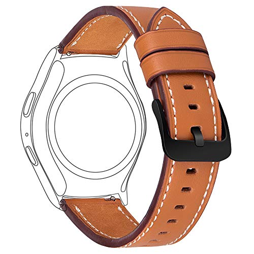 Gear S2 Classic Leather Band 42mm,MroTech Vintage Gear S2 Classic Band with Black Clasp Genuine Leather Strap 20mm Replacement Band for Samsung Gear S2 Classic Smart Watch SM-R732 ()