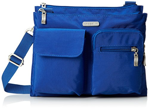 Baggallini Everything Crossbody Bag - Slim and Sleek, Lightweight, Multi-Pocketed Travel Bag with Removable Wristlet