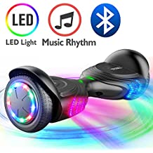 TOMOLOO Music-Rhythmed Hover Board Kids Adult Two-Wheel Self-Balancing Scooter- UL2272 Certificated Music Speaker- Colorful RGB LED Light