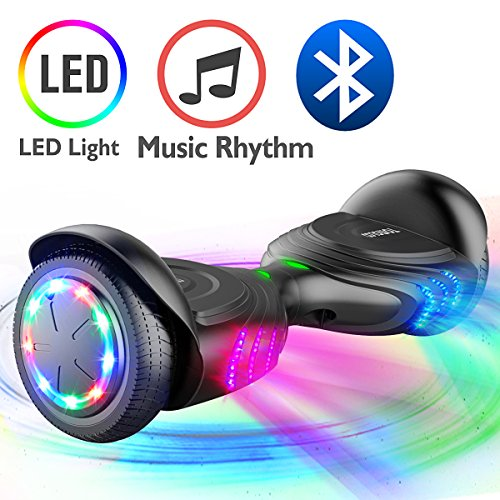TOMOLOO Music-Rhythmed Hoverboard for Kids and Adult Two-wheel Self-balancing Scooter- UL2272 Certificated with Bluetooth Speaker- colorful RGB LED light (Q2-black)