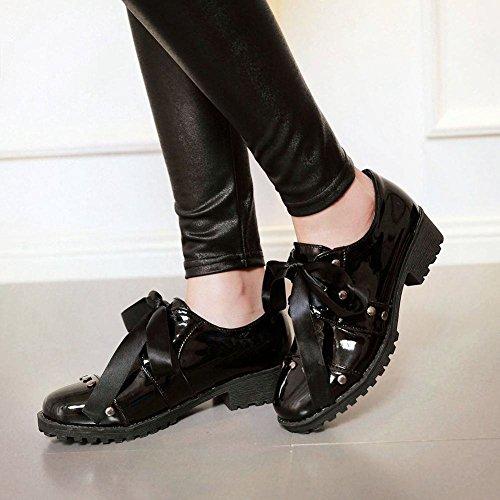 Carolbar Womens Lace-up Lakleer Klinknagel Mode Lint Lage Hak Oxfords Schoenen Zwart