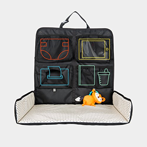 Beanko Baby Diaper Changing System for Your Car – Portable Diaper Changing Station, Toy Loops, 4 Pockets, Wet Wipes Holder, Tummy Time Mat, Kick Mat, Tablet Holder, Home, Hotel, Travel, Mini Stars