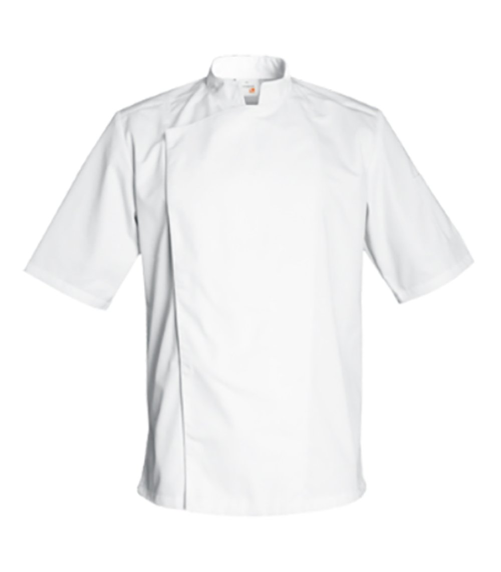 FIRENZE Short Sleeve Culinary Chef Jacket with Mandarin Collar by Clement Design (L - 40/42 - T2, White) by Clement Design USA