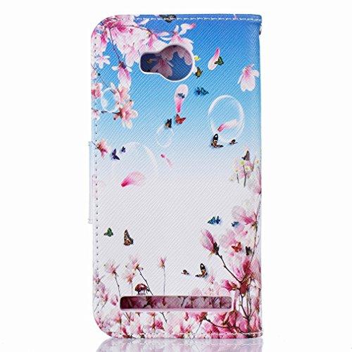 Yiizy Huawei Y3 II Huawei Y3 2 Custodia Cover, Fiori Fioritura Design Sottile Flip Portafoglio PU Pelle Cuoio Copertura Shell Case Slot Schede Cavalletto Stile Libro Bumper Protettivo Borsa
