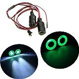 Jack-Store 2 Leds Angel Eyes LED Light Headlights/Taillight/Back Light 17MM Outer Diameter for 1/10 RC Crawler Car (Green+White)