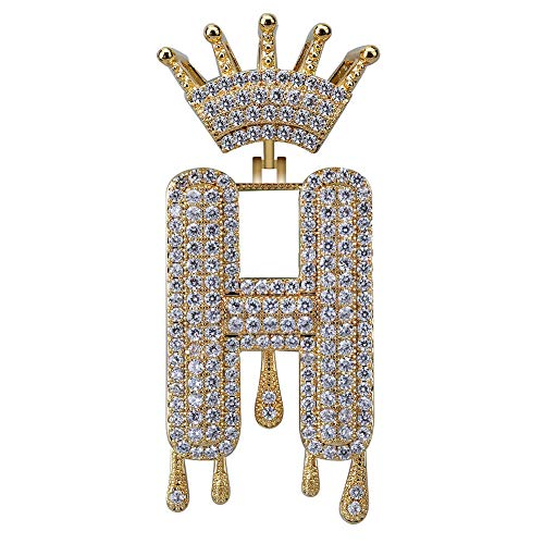 HECHUANG Micropave Simulated Diamond Iced Out Crowned Initial Dripping Letters Pendant with Rope Chain (Gold H, 24)