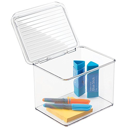 """mDesign Office Supplies Desk Organizer Box with Lid for Staplers, Scissors, Pens, Sticky Notes, Highlighters, Tape - Small, Clear, 5"""" Tall"""
