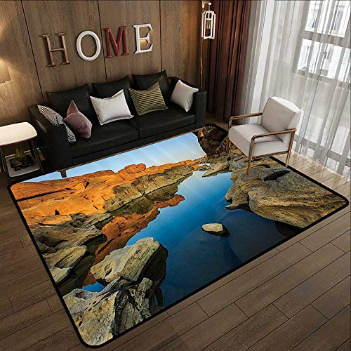 - Kitchen Rugs,House Decor,Secret Small Ravine Between Pairs of Cliffs Erosion of River Carved Scene,Blue Orange 59
