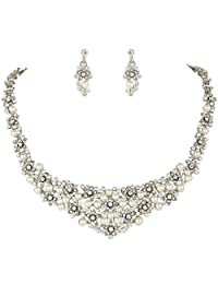 Ever Faith Wedding Cream Simulated Pearl Orchid Cluster Jewelry Set Clear Austrian Crystal N02042-1