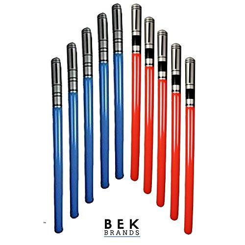 Bek Brands Inflatable Light Saber Sword Toy | Blow Up Battle Lightsaber Swords Action Play (10 pk - Red, -