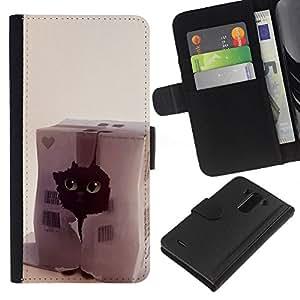 LG G3 D855 D850 D851 , la tarjeta de Crédito Slots PU Funda de cuero Monedero caso cubierta de piel ( Funny Cat Cute Pet Black House Heart)