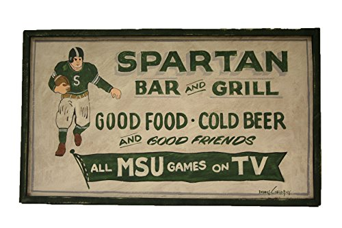 Michigan State Spartans NCAA 18x29'' White Bar & Grill Hand Made Wooden Barn Sign by NCAA
