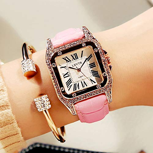 Watch Waterproof Fashion Style 2018 Wave Casual Women Unique Gift Atmospheric Water Drill Watch Women Girls Students (Square Diamond - Pink [] Battery Feed Box +