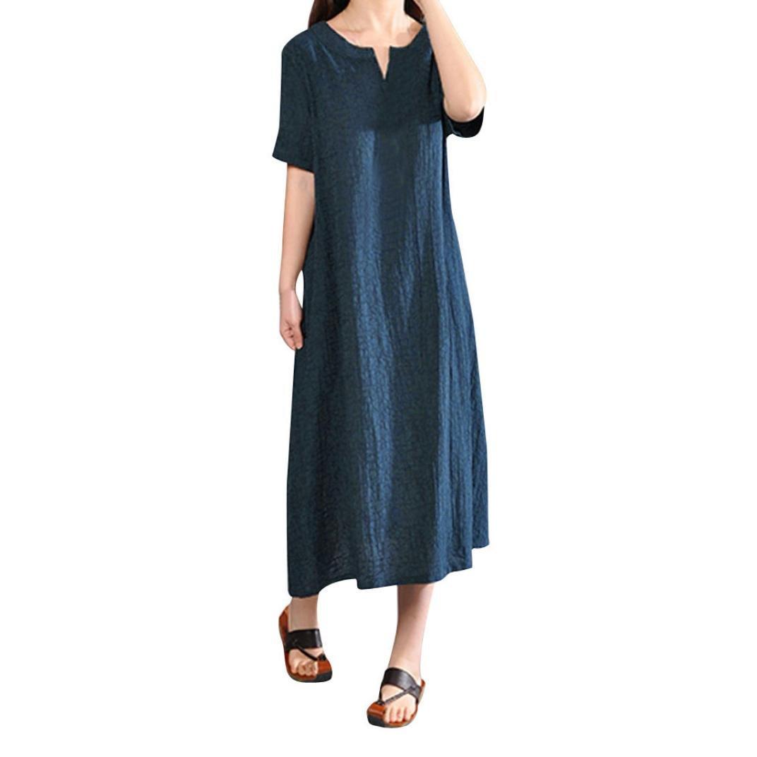 V-Neck Bohemia Linen Dress Plus Size Solid Short Sleeve T Shirts Dress