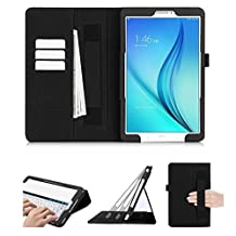 Samsung Galaxy Tab E 9.6 Case, FYY [Super Functional Series] Premium PU Leather Case Stand Cover with Card Slots, Note Holder, Quality Hand Strap and Elastic Strap for Samsung Galaxy Tab E 9.6 Black