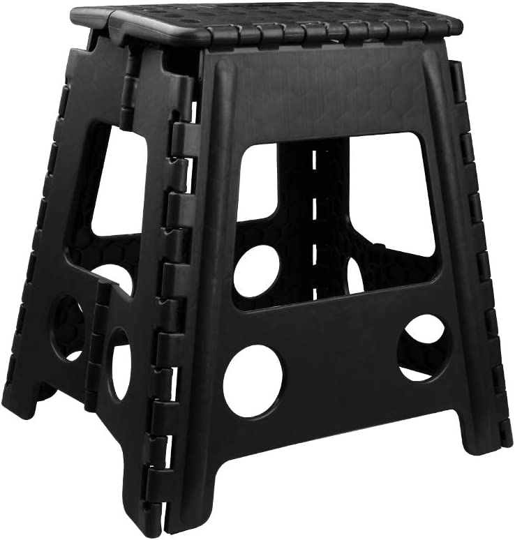 Usmascot Non-Slip Folding Step Stool, Sturdy Safe Enough - Holds up to 350 Lb -11 inch Footstool for Adults or Kids, Fold Ladder Storage/Opens Easy, for Kitchen,Toilet,Camping ect. (Black, 13 inch)