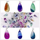 Druzy Geode Agate Pendants with Drilled Hole Set of 6 Assorted Colors By Natural Jewelry