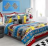 Race Cars Boys Full/Queen Comforter & Shams (3 Piece Bedding Set) + Homemade Wax Melts