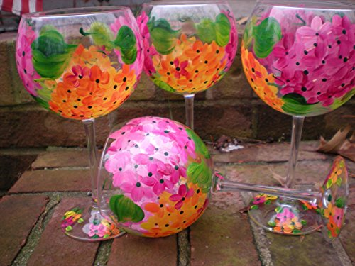 Hand Goblet Painted - Hand painted vibrant pink, orange plumeria. Wonderful for spring. . Set of 4. 20 ounces each. Made in the usa.