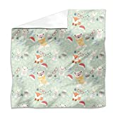 Xmas Of Forest Animals Flat Sheet: King Luxury Microfiber, Soft, Breathable