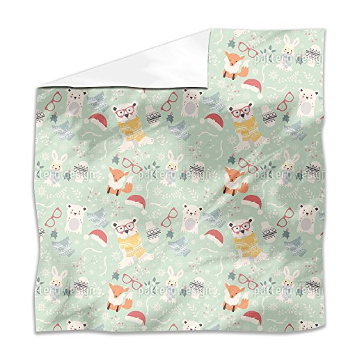 Xmas Of Forest Animals Flat Sheet: King Luxury Microfiber, Soft, Breathable by uneekee