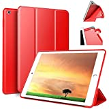 9.7 ipad case ZOYU Ultra Slim Lightweight Smart Trifold Stand Case Cover Magnetic Auto Wake & Sleep Function/Soft TPU Back Cover 2017/2018 9.7 iPad 5th/6th (ipad 2017 Red)