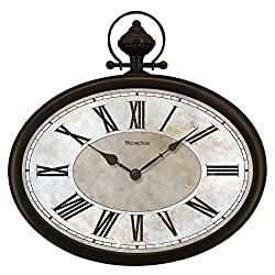 Westclox 32926 Pocket Watch Clock 16 Oval Pocket Watch Wall Clock, Brown