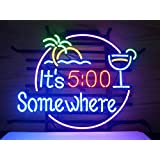 New It's 5 O'clock Somewhere Real Glass Neon Light Sign Home Beer Bar Pub Recreation Room Game Room Windows Garage Wall Sign V50 Made BY AOOS