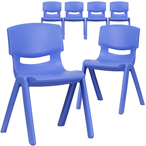 (Flash Furniture 6 Pk. Blue Plastic Stackable School Chair with 13.25'' Seat Height)