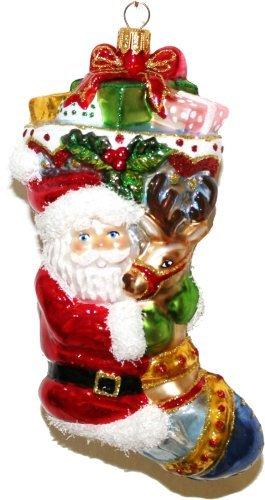 Papá Noel Reno Calcetines bolas de navidad árbol de Navidad Vidrio Soplado pintado a mano: Amazon.es: Joyería