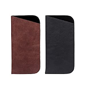 2 Pack Polemax Soft Slip in PU Leather Eyeglasses Sunglasses Pouch Case Portable Glasses Protection Bag (Black+Brown)
