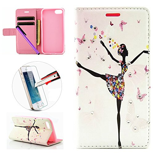 iPhone 7 Case, ISADENSER [Kickstand] Painting Leather Wallet [Card Slots Cash Compartment] Flip Cover for iPhone 7 + 1pcs Tempered Glass Screen + 1pcs Stylus Pen (A Dancing Girl)