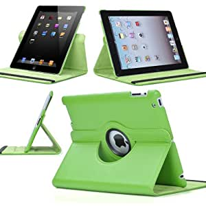 Green 4 4G Gen The New iPad 3 3rd 2 360 Rotating Magnetic PU Leather Case Smart Cover Swivel Stand